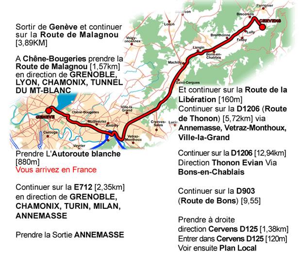 Plan depuis Genève