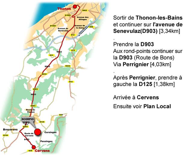Plan depuis Thonon-les-Bains
